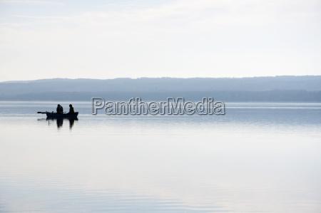 germany, , bavaria, , fishermen, in, boat, at - 21188357