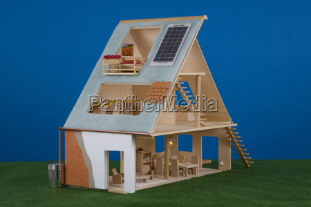 dolls house with solar cells on