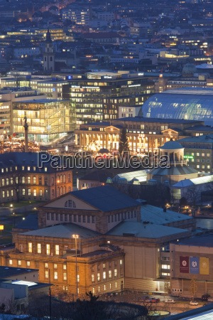 germany stuttgart roofs and city by