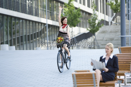 germany baden wuerttemberg stuttgart woman cycling