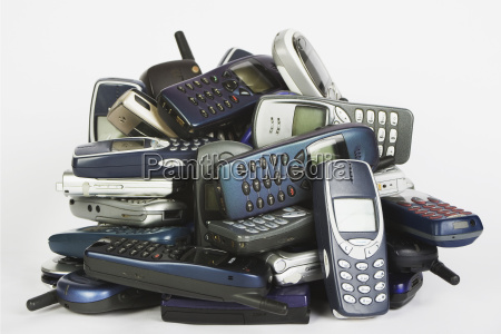 old mobile phones close up