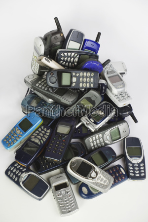old mobile phones elevated view