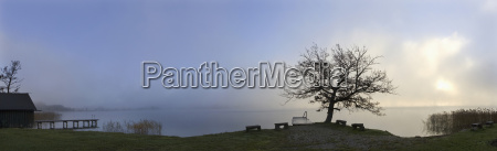 austria salzkammergut lake irrsee with morning