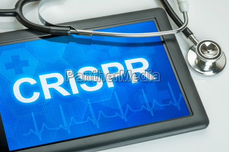 tablet with the text crispr on