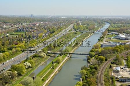 view over rhein herne kanal in