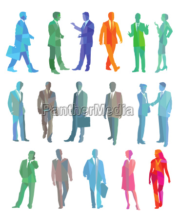 colorful group of business people
