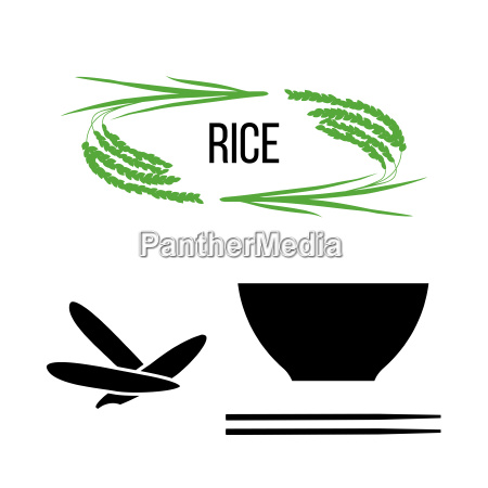set of rice plants and bowl