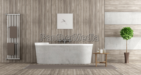 wooden and concrete bathroom