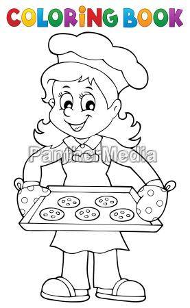 coloring book with woman cook