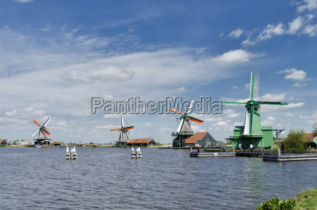 windmills at zaanse schans amsterdam holland
