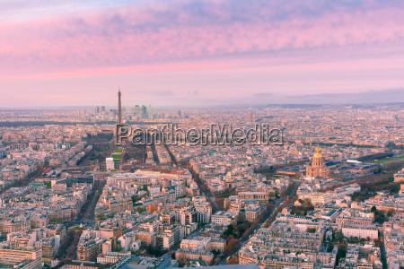 aerial night view of paris france