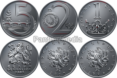 vector money five czech crones coin