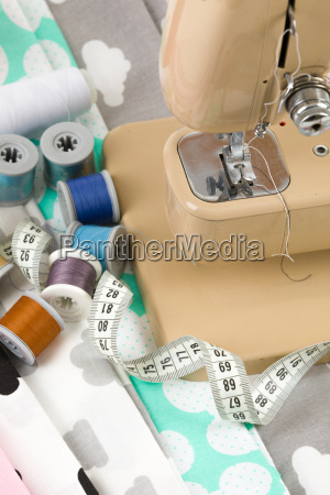 sewing machine fabric and measurement tape