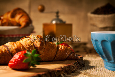 closeup of a continental breakfast with