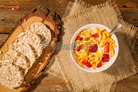 continental breakfast with cornflakes strawberries rice