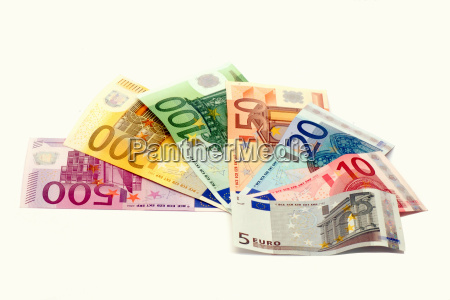 fan from euro banknotes on white