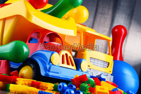 colorful plastic toys in childrens room