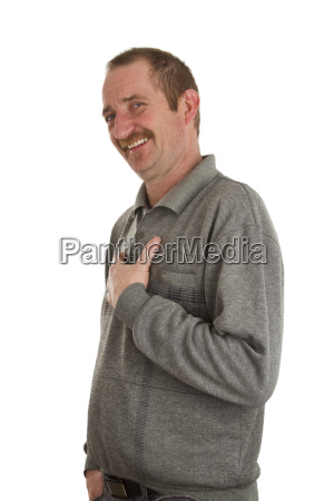 laughing man hakes hand on rib
