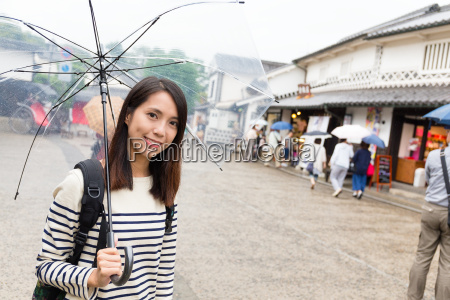 young woman travel in japan with