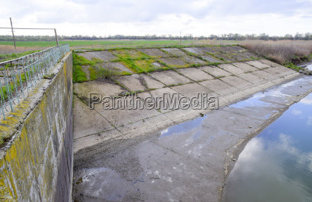 paved concrete banks of the irrigation