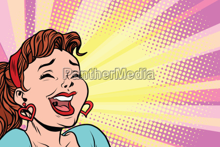 young woman laughs style pop art