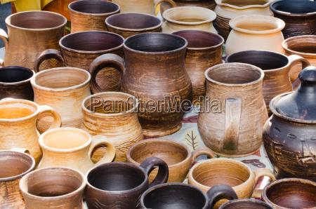 empty pottery crockery in rustic style