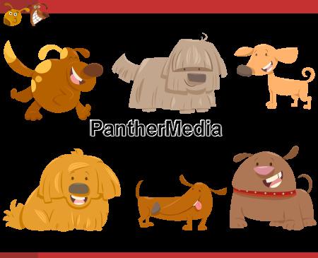 cute dog cartoon characters set