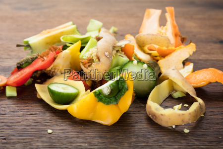 vegetable and fruit peelings on table