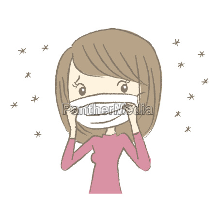 young woman with surgical mask having