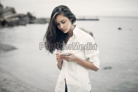 portrait of teenager girl walking on