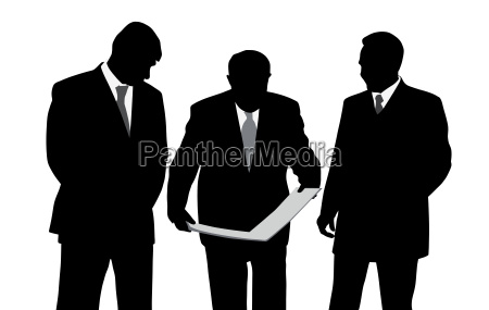 three businessmen engineers or architects looking