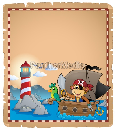 parchment with pirate monkey on boat