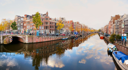 amsterdam city view with canals and