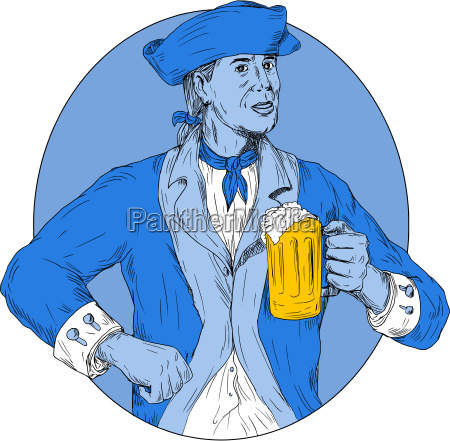 american patriot holding beer mug oval