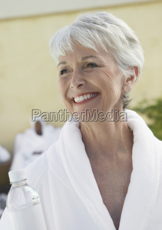 smiling senior woman in dayspa