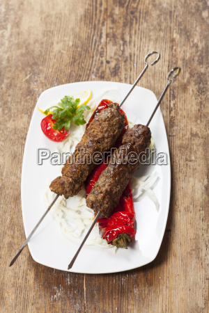 grilled mincemeat skewer