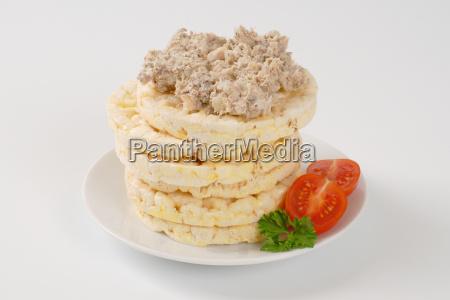 rice bread with fish spread