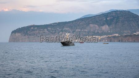 luxury yacht near sorrento coast at