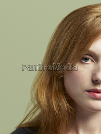 serious red haired woman