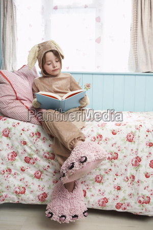 girl in bunny costume and monster