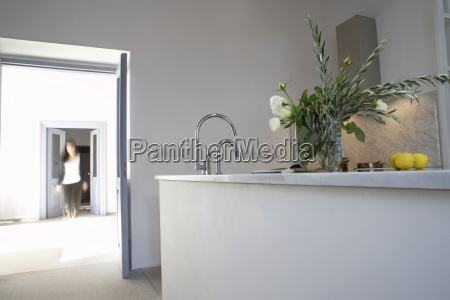town house with kitchen counter and