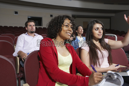 multiethnic students attending lecture