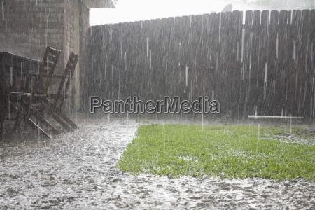 heavy rains in backyard