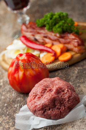 raw mince and ingredients