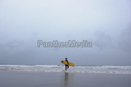 man with surfboard walking towards sea