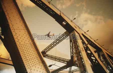 airbourne passenger jet viewed through bridge