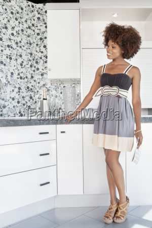 young african american woman admiring designed