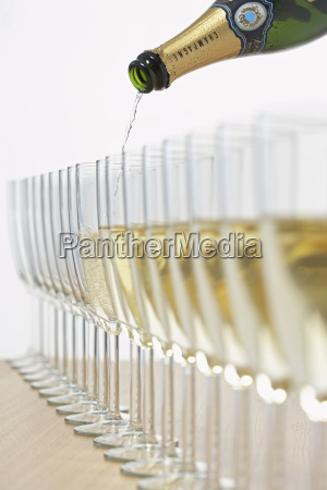 bottle of champagne filling row of