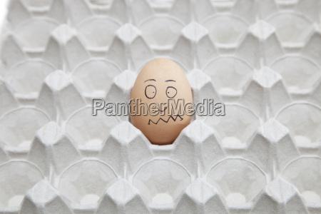 anthropomorphic brown egg in empty carton