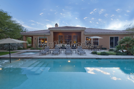 rear view of luxury villa with